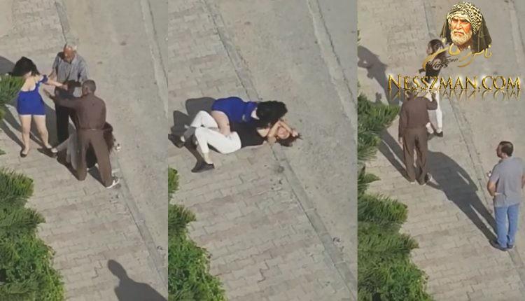 بالفيديو سوسة معركة شرسة بين فتاتين في الشارع