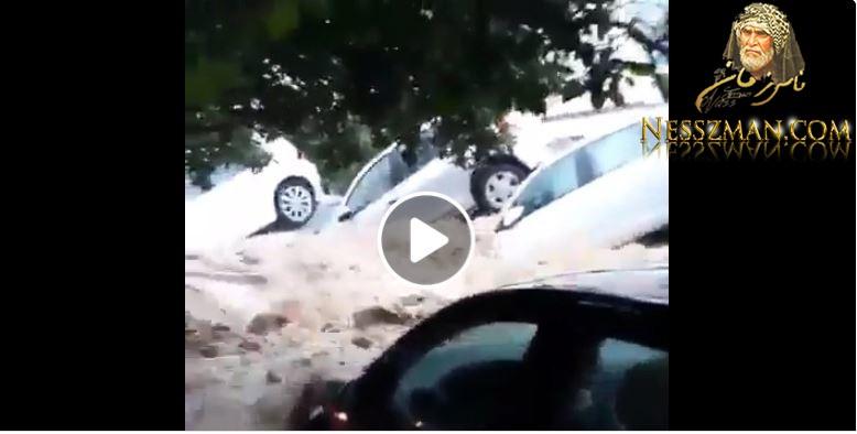 عاجل الوضع خطير في مدينة نابل أمطار طوفانية تجرف السيارات