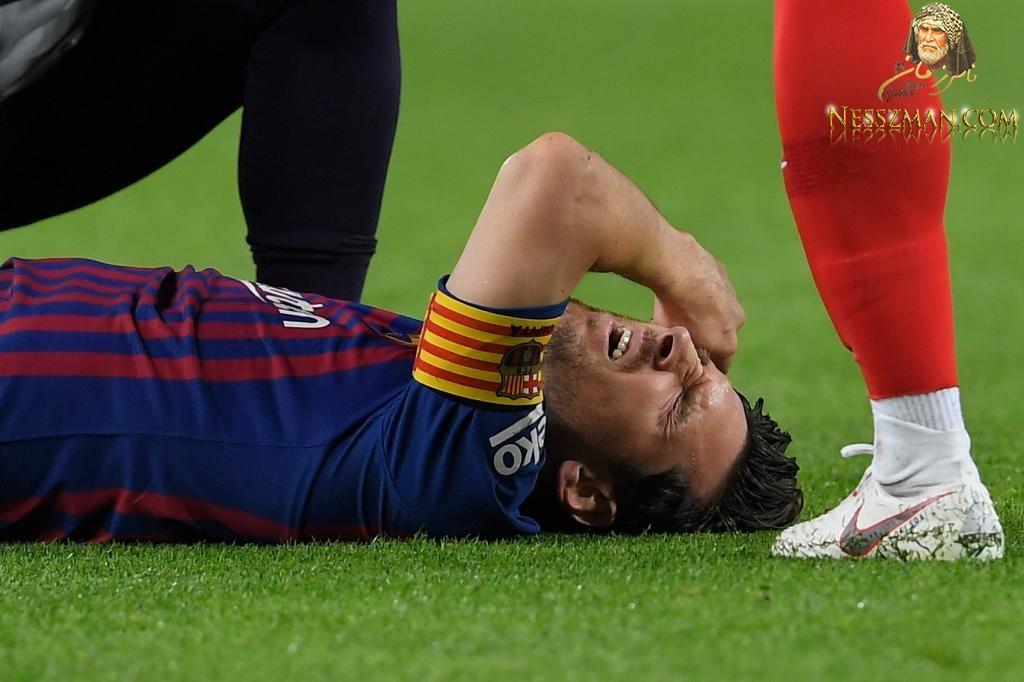 تعرض نجم برشلونة الاسباني، ليونيل ميسي، لإصابة خطيرة في ساعده الأيمن