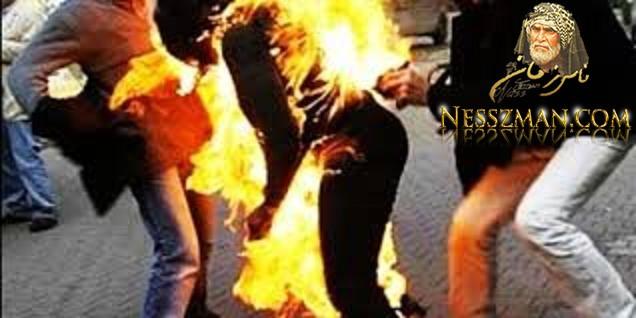 قربة شابان يضرمان النار في جسدهما أمام مركز الأمن